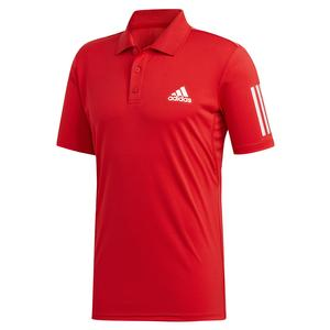 Men`s Club 3 Stripes Tennis Polo Scarlet