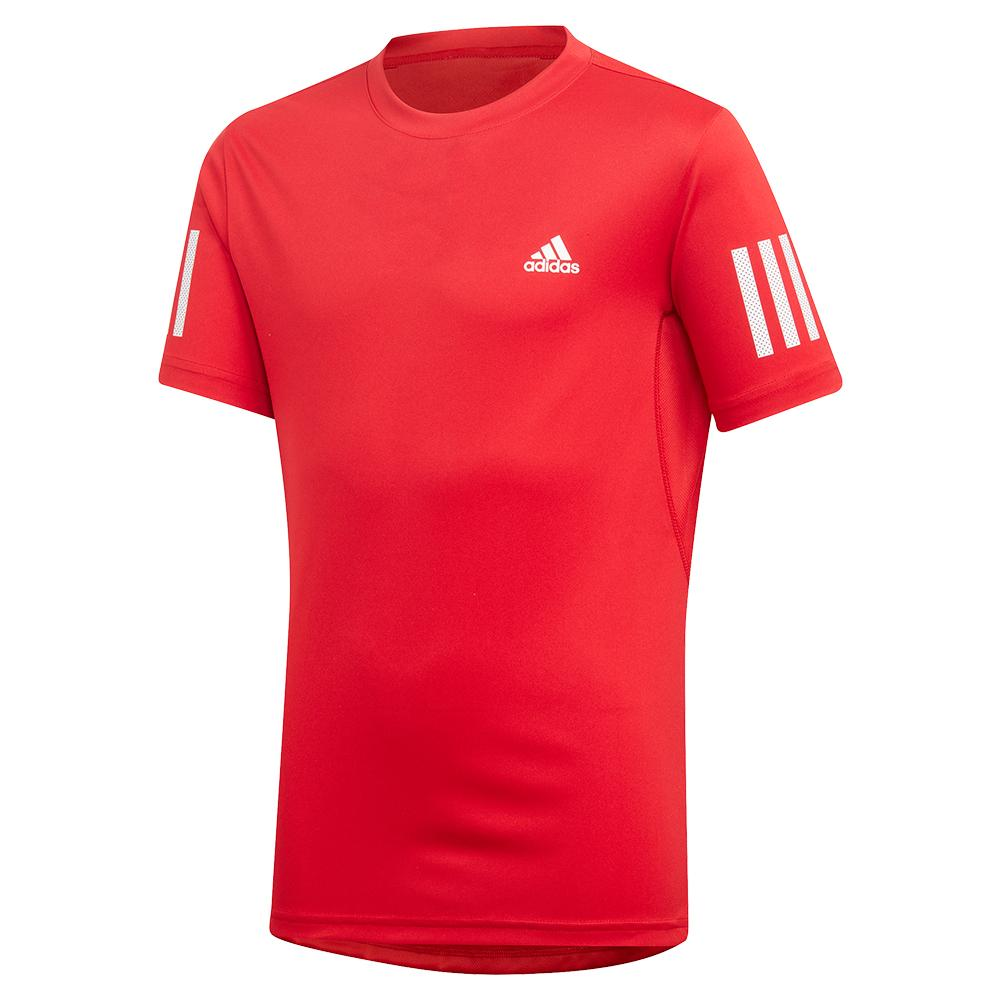 Boys ` Club 3 Stripes Tennis Tee Scarlet