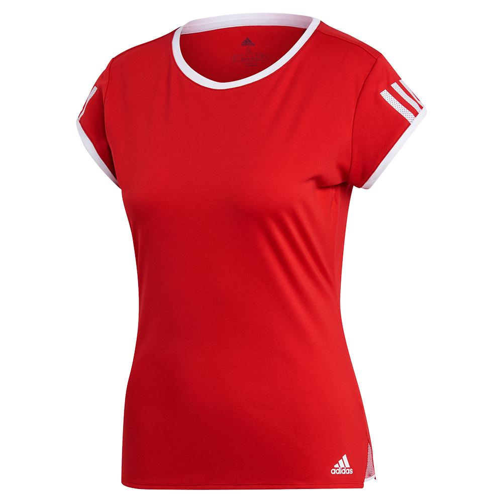 Women's Club 3 Stripe Tennis Top Scarlet