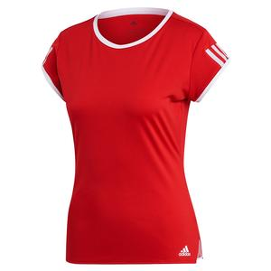 Women`s Club 3 Stripe Tennis Top Scarlet