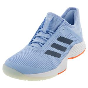 Women`s Adizero Club 2 Tennis Shoes Glow Blue and Tech Ink