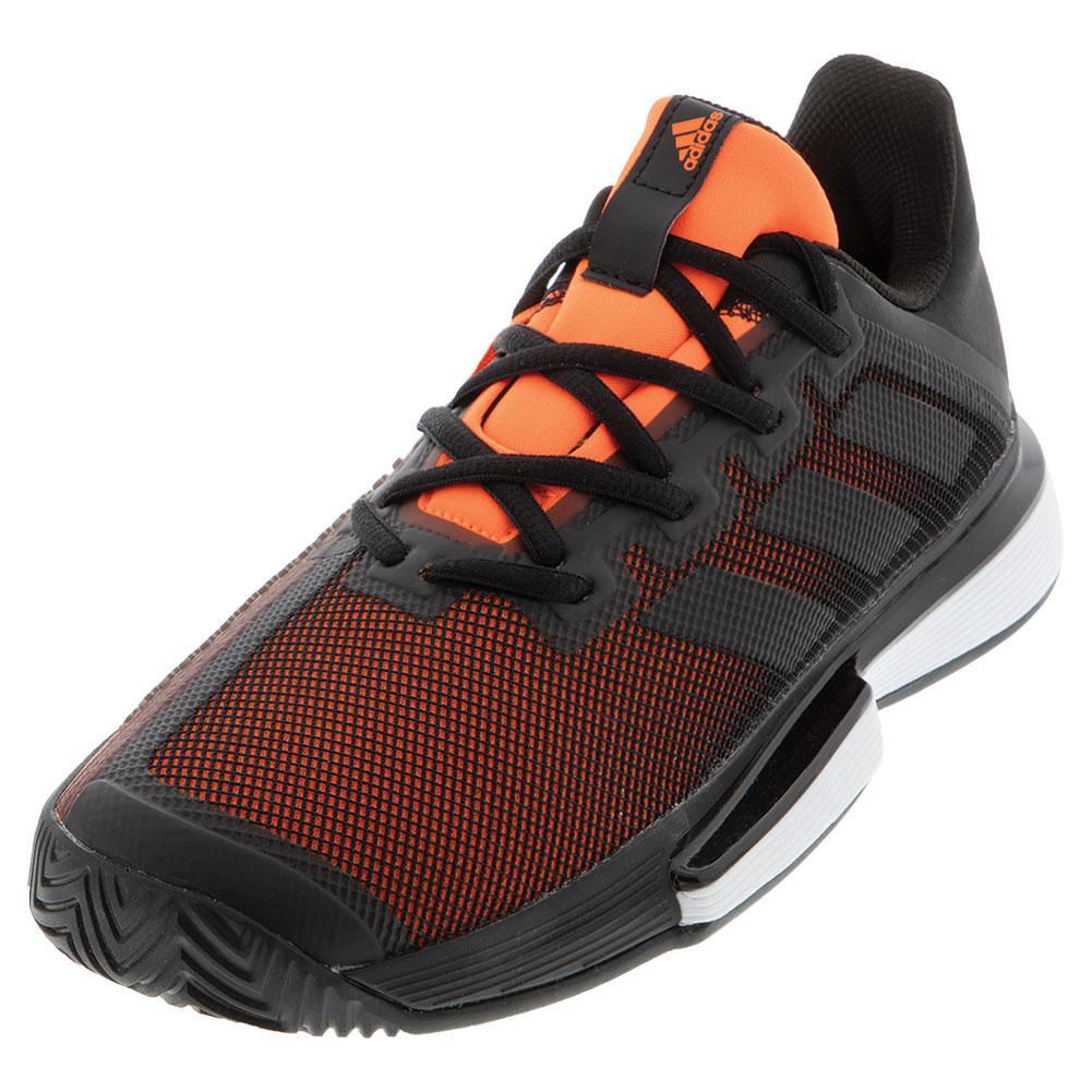 Men's Solematch Bounce Tennis Shoes Core Black And Solar Orange