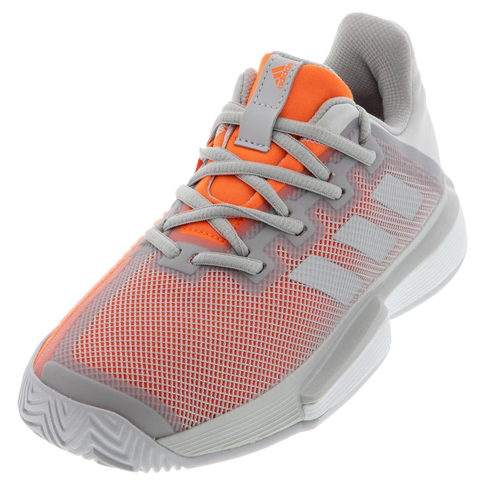 Women's Solematch Bounce Tennis Shoes Solid Gray And Hi- Res Coral