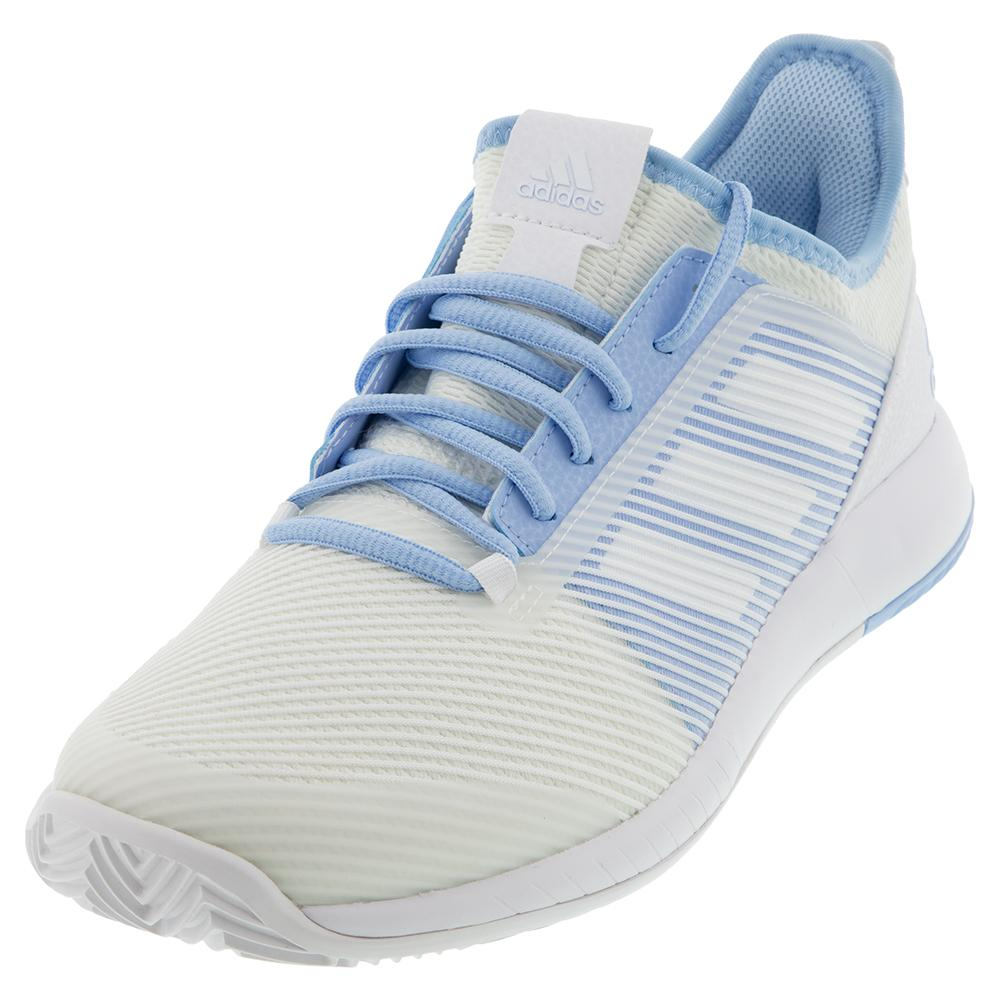 Women's Adizero Defiant Bounce 2 Tennis Shoes White And Glow Blue