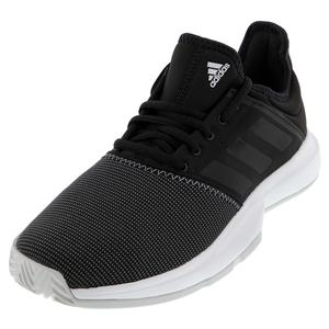 Men`s GameCourt Wide Tennis Shoes Core Black and Solid Gray
