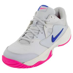 Women`s Court Lite 2 Tennis Shoes Pure Platinum and Racer Blue
