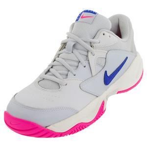 Women`s Court Lite 2 Tennis Shoes Pure Platinum and Racer Blue