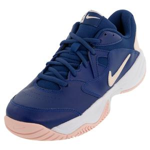 Women`s Court Lite 2 Tennis Shoes Coastal Blue and Echo Pink