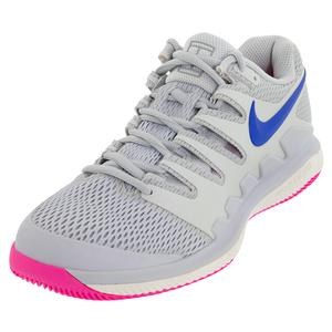 Women`s Air Zoom Vapor X Tennis Shoes Pure Platinum and Racer Blue