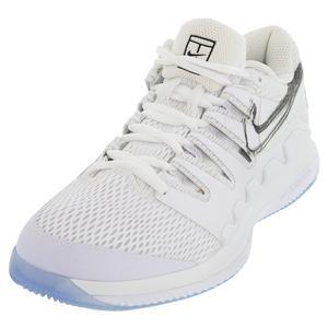 Women`s Air Zoom Vapor X Tennis Shoes White and Metallic Summit