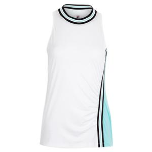 Women`s Love Game Full Coverage Tennis Tank White and Angel Blue