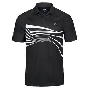 Men`s Novak Djokovic Ultra Dry Center Graphic Tennis Polo Geo Print Noir