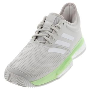 Women`s SoleCourt Boost Tennis Shoes Glow Green and White