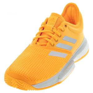 Women`s SoleCourt Boost Tennis Shoes Flash Orange and White