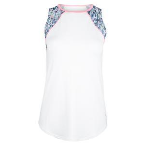 Women`s Shoulder Panel Cutaway Tennis Tank Sherry Print