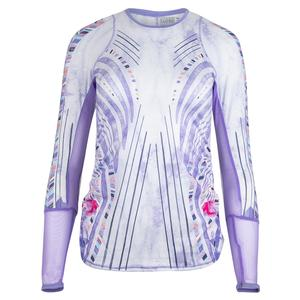 Women`s Long Sleeve Tennis Top Lilac It Print