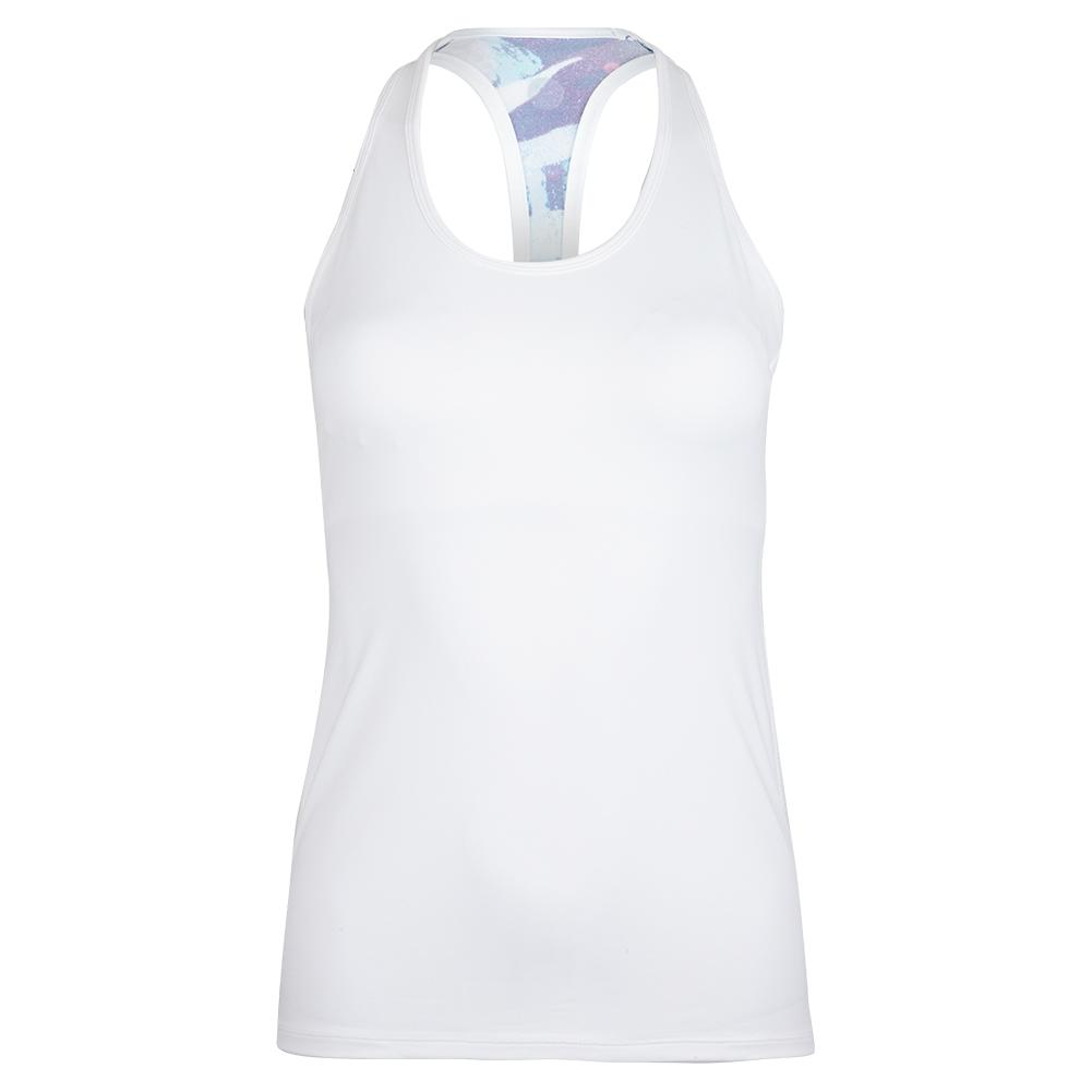 Women's Bluebell Tennis Tank White And Tropical Summer Print