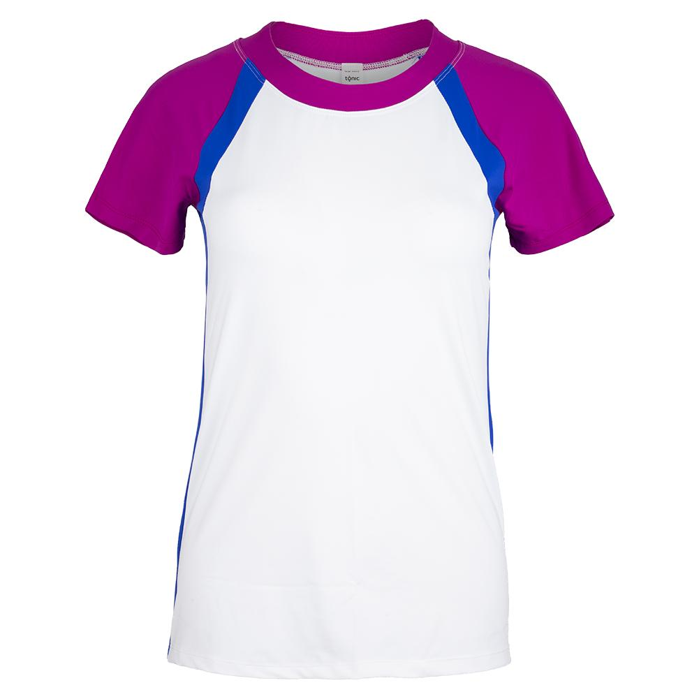 Women's Ivy Tennis Top White And Blue