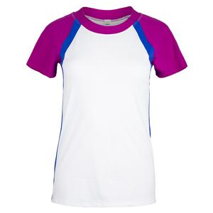 Women`s Ivy Tennis Top White and Blue