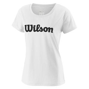 Women`s Under Wolf 2 Script Tech Tennis Tee White and Black