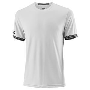 Men`s Team Solid Tennis Crew White and Black Trim