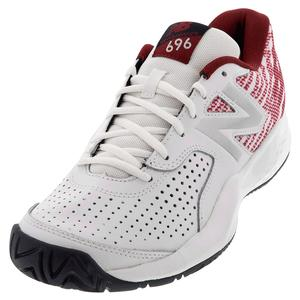 Men`s 696v3 D Width Tennis Shoes White and Scarlet