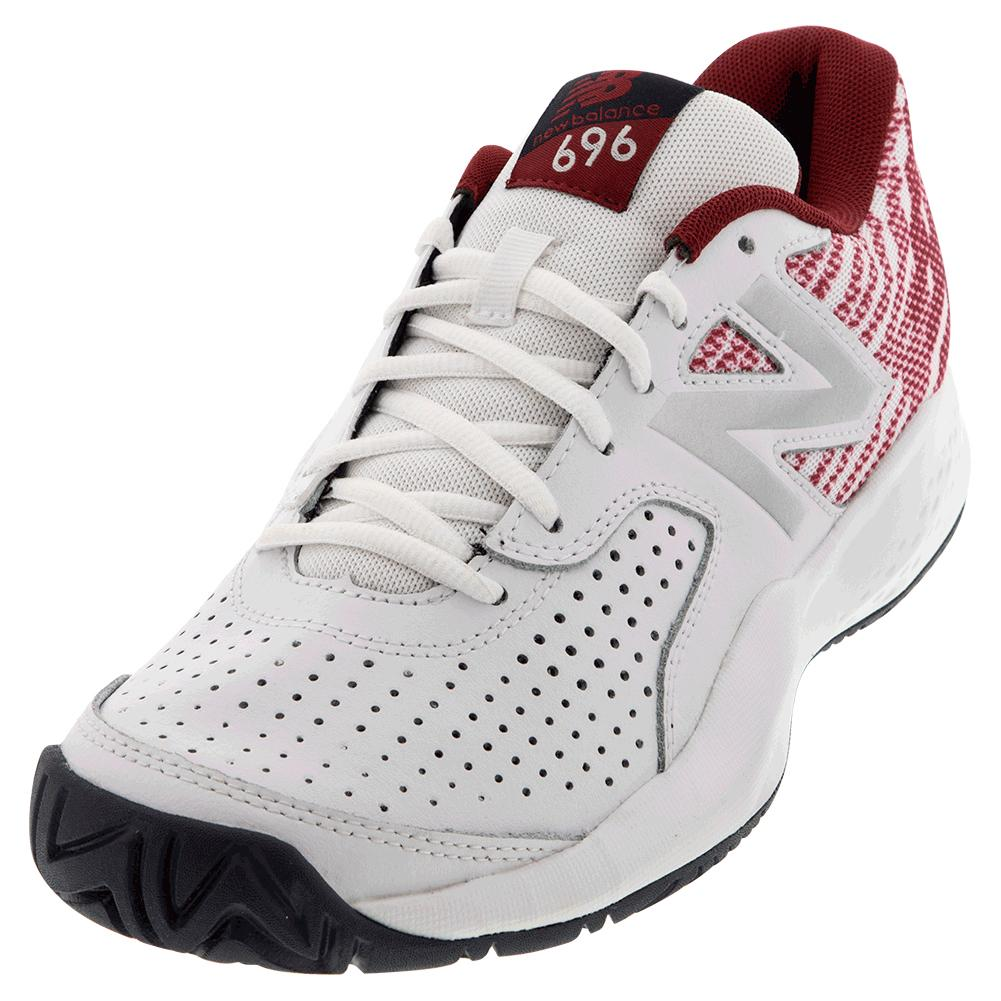brand new 48209 24036 Details about NEW BALANCE Men`s 696v3 D Width Tennis Shoes White and Scarlet