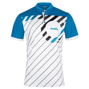 Men`s Short Sleeve Tennis Polo Blue Deep Water