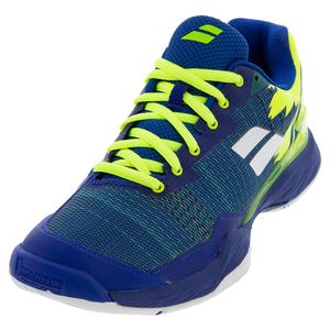 Men`s Jet Mach I All Court Tennis Shoes Blue and Fluo Aero