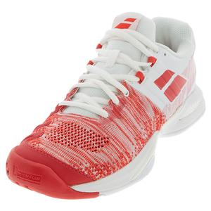 Women`s Propulse Blast All Court Tennis Shoes White and Hibiscus