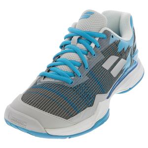 Women`s Jet Mach I All Court Tennis Shoes Silver and Horizon Blue