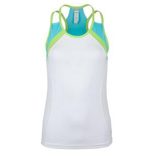 Women`s Tropical Twist Racerback Tennis Tank White and Aqua