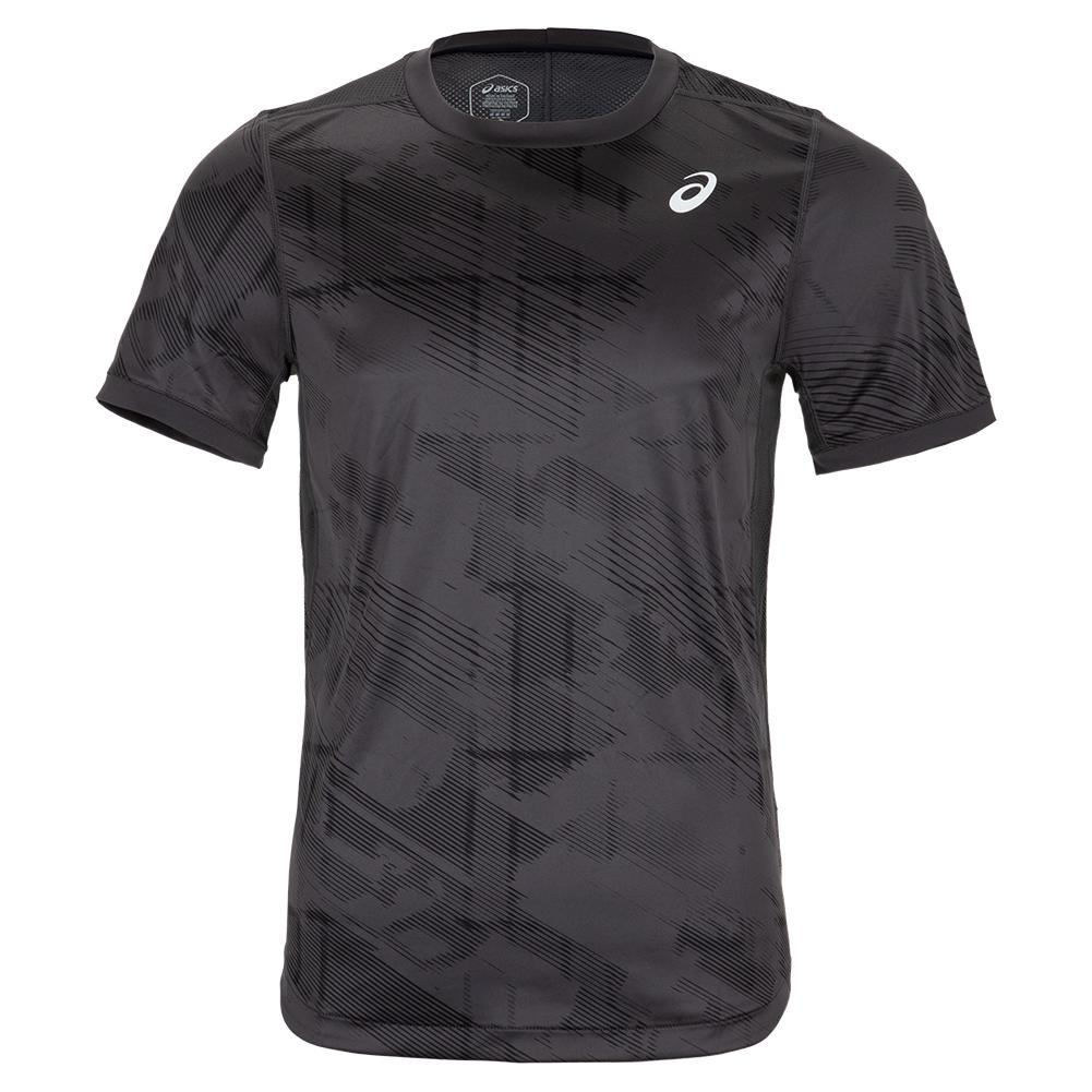 Men's Club Graphic Short Sleeve Tennis Top Graphite Grey And Performance Black