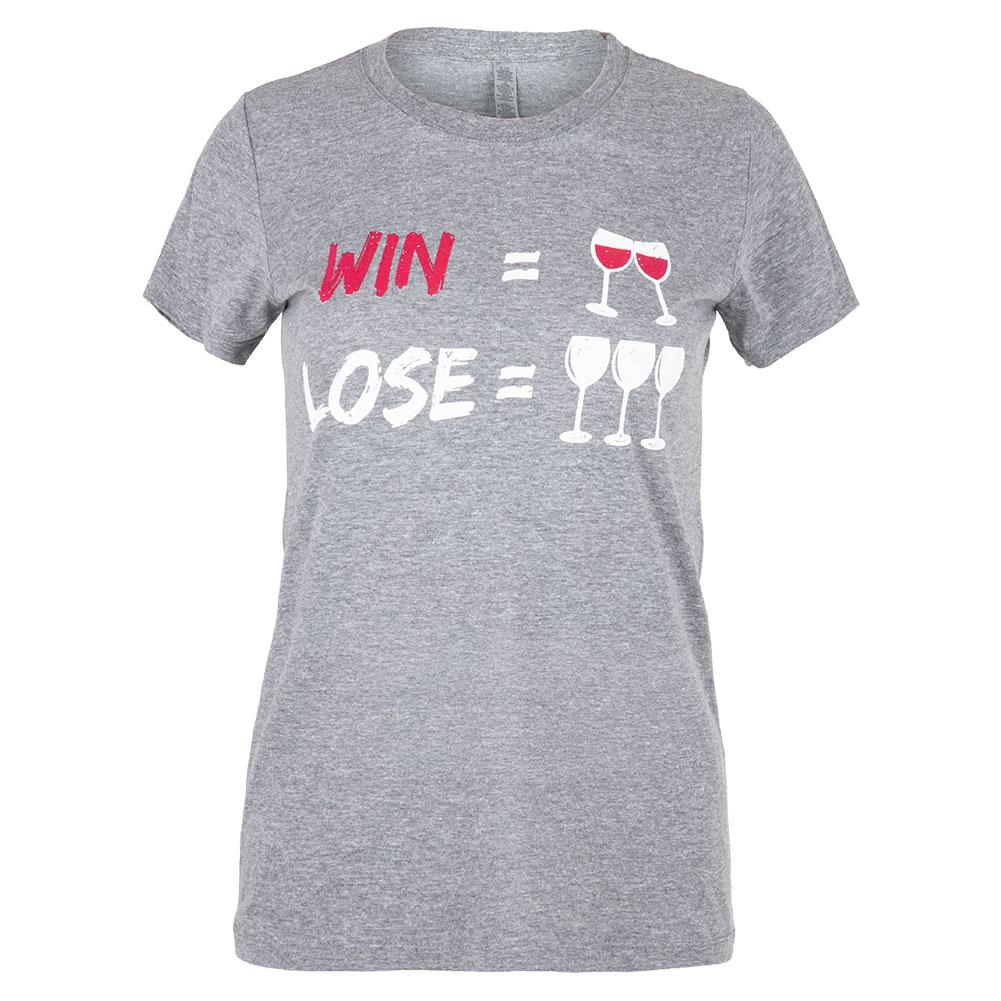 Women's Win Lose Wine Tennis Top Heather Grey