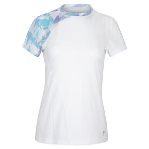 Women`s Short Sleeve Tennis Top White and Moonlight Print