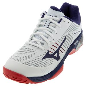 Men`s Wave Exceed Tour 3 AC Tennis Shoes White and Astral Aura