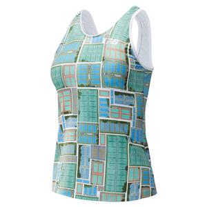 Women`s Rally Tennis Tank Court Print
