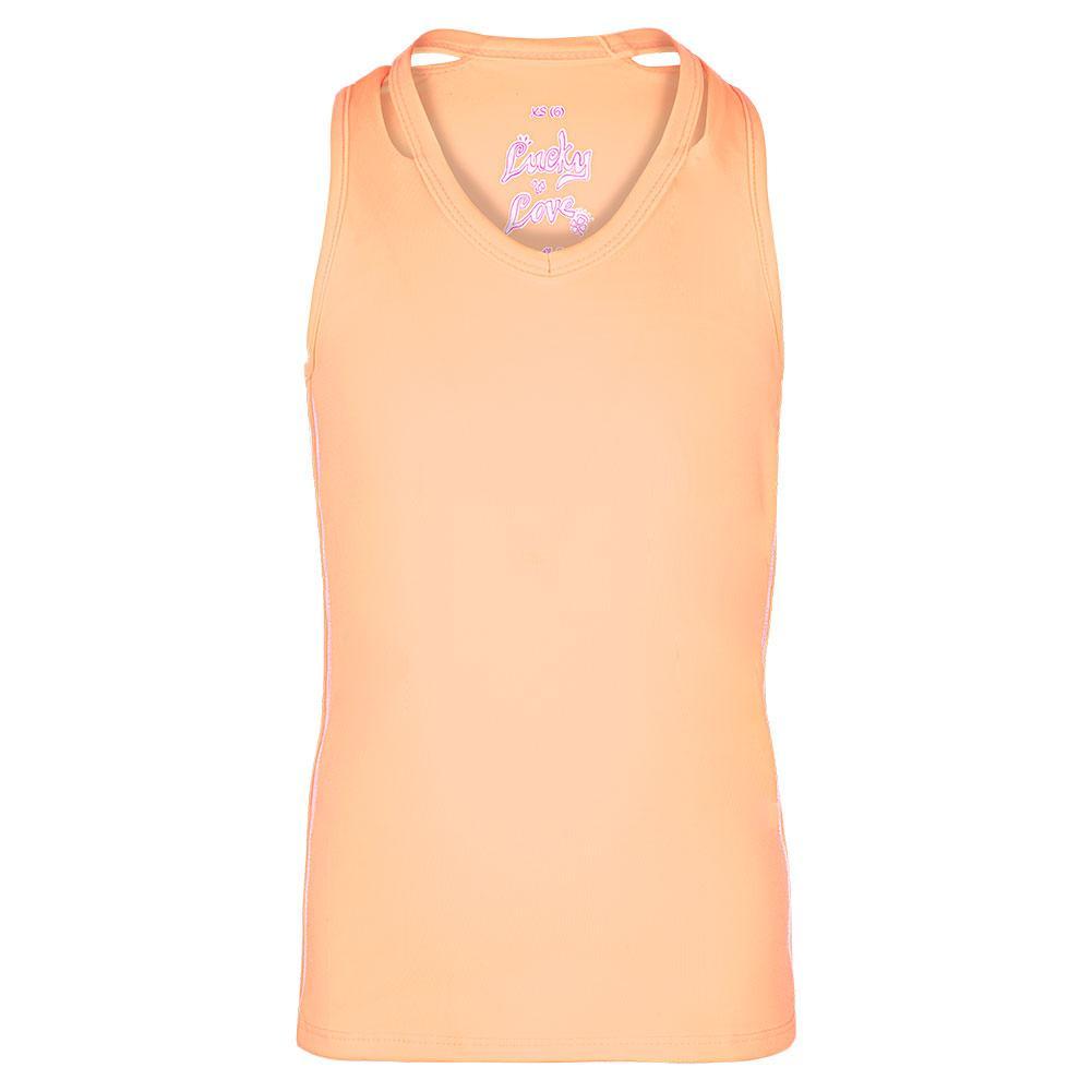 Girls ` V- Neck Cutout Tennis Tank Peach Glow