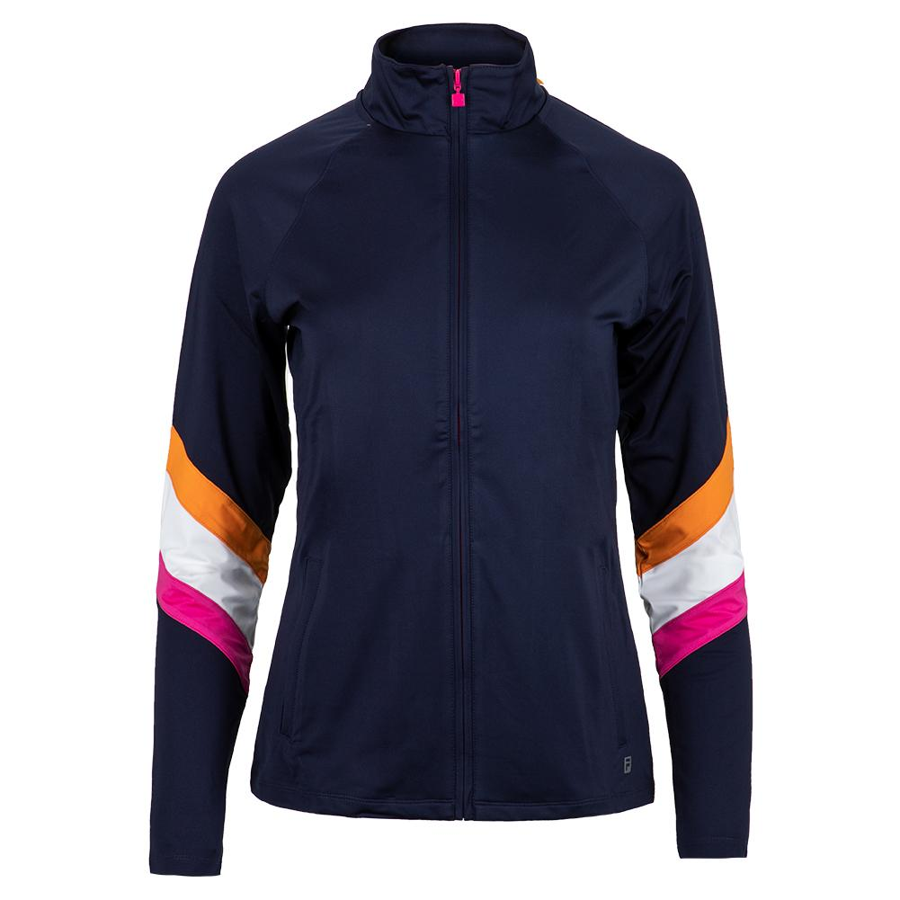 Women's Awning Tennis Jacket Navy And White
