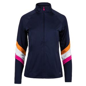 Women`s Awning Tennis Jacket Navy and White