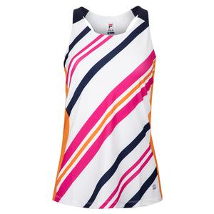 Women`s Awning Stripe Tennis Tank White and Navy