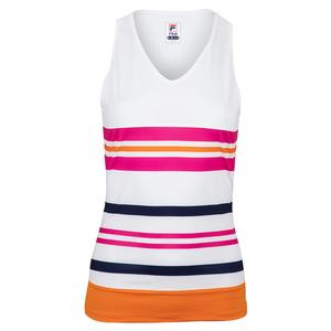 Women`s Awning Full Coverage Tennis Tank White and Orange Peel