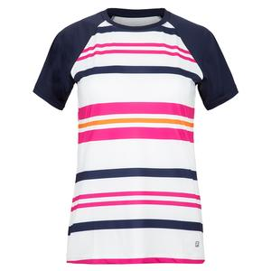 Women`s Awning Short Sleeve Stripe Tennis Top White and Navy