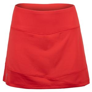 Women`s Maritime Blues 14 Inch Tennis Skort Red Poppy