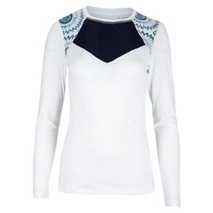 Women`s Long Sleeve Tennis Top White and Navy