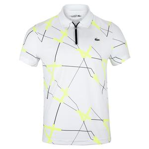 Men`s All Over Print Zipper Placket Tennis Polo