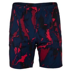 Men`s Novak Djokovic Woven 7.8 Inch Tennis Short Navy Blue and Tokyo Red