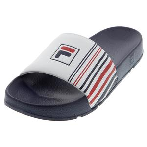 Men`s Drifter Stripe Slides Navy and White