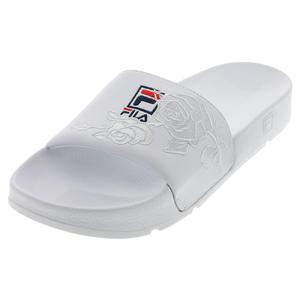 Women`s Drifter Embroidery Slides White