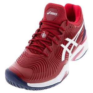Men`s Court FF Novak Tennis Shoes Burgundy and White